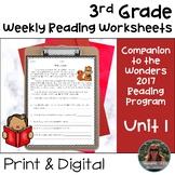 3rd Grade Wonders 2017 Weekly Reading Worksheets Unit 1 Print & Digital