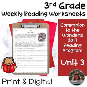 3rd Grade Wonders Weekly Reading Worksheets Unit 3