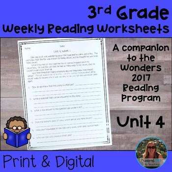 3rd Grade Wonders Weekly Reading Worksheets Unit 4