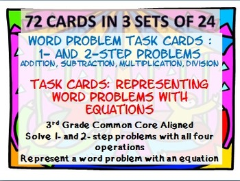3rd Grade Word Problems Task Card/Scoot Activity: 3 Sets; 72 Cards