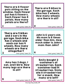 3rd Grade Word Problems Worksheets and Task Cards (3.OA.8)