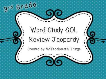 3rd Grade Word Study SOL Review Jeopardy