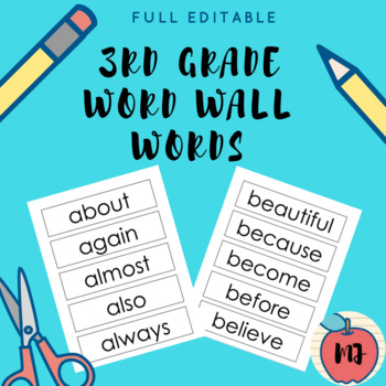 3rd Grade Word Wall Words [Full Editable]