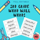 3rd Grade Word Wall Words [Full Editable]