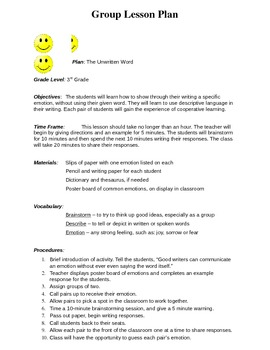 3rd Grade Writing Assignment - Emotions