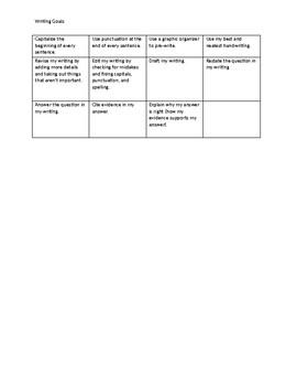 3rd Grade Writing Goals
