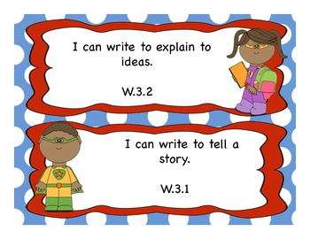 3rd Grade Writing I Can Statements