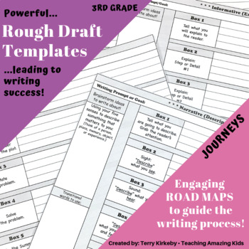 """3rd Grade:  Writing Mastery with """"Rough Draft"""" Templates (Journeys)"""