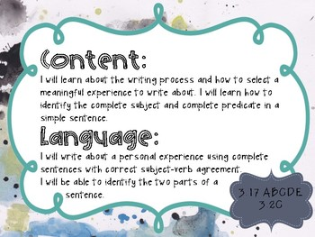 3rd Grade Writing Objectives TEKS based. Watercolor Themed