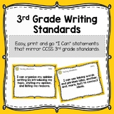 """3rd Grade Writing Standards - """"I Can"""" Statements"""