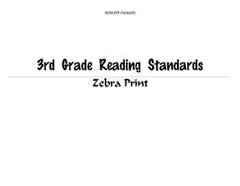 3rd Grade Zebra Print Reading Standards