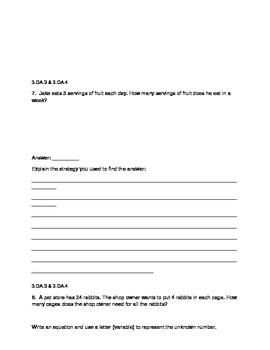 3rd Grade common Core Multiplication/Division Assessment