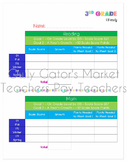 3rd Grade iReady Reading & Math Tracking Chart - Student &