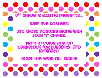 3rd Grade is Buzzing Daily Five Station Posters ~ Free!