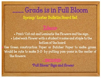 3rd Grade is in Full Bloom Bulletin Board set Spring K-5 K-4 1st 2nd 4th 5th