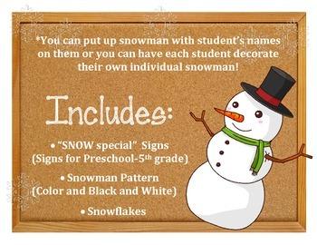 3rd Graders are SNOW Special!  Winter Bulletin Board.  Pre-K-5th grade  Snowmen