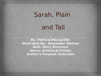 3rd L-21 Sarah, Plain and Tall Vocabulary/Spelling/Comprehension Power Point