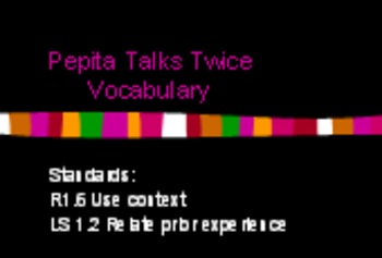 3rd Language Arts HM 6.1 Pepita Talks Twice Vocab PPT