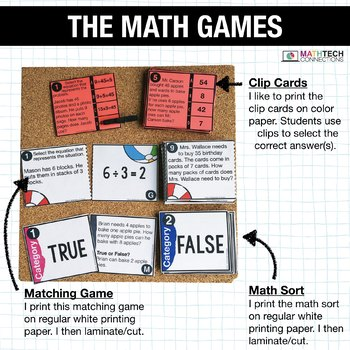 3rd - Multiplication and Division Centers - Math Games