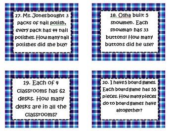 3rd SOL Set #2 2 digit by 1 digit Multiplication Word Problem Task Cards