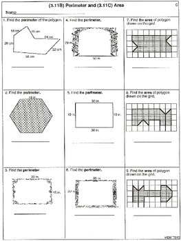 3rd Grade Measurement: Centimeters, Inches, Area, Perimeters (worksheets)