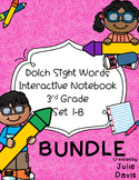 3rd Third Grade Dolch Sight Word Interactive Notebooks Bundle