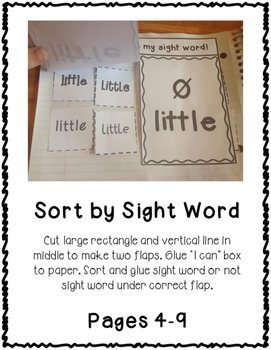 3rd Third Grade Dolch Sight Word Interactive Notebooks Set 4