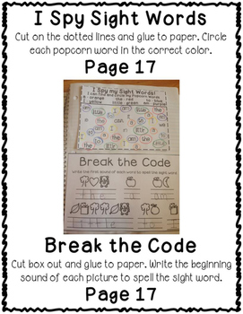 3rd Third Grade Dolch Sight Word Interactive Notebooks Set 6
