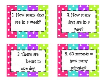 3rd VA SOL Equivalent Periods of Time Task Cards Including Word Problems
