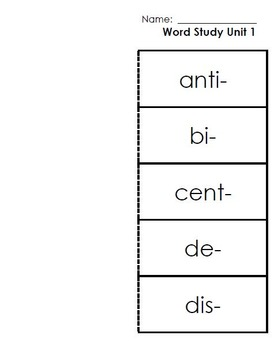 3rd and 4th Grade Lesser-Known Prefixes/Suffixes Word Study Kit 1