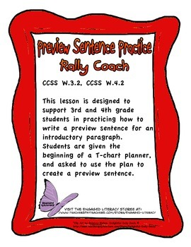 3rd and 4th Grade Rally Coach Preview Sentence Practice