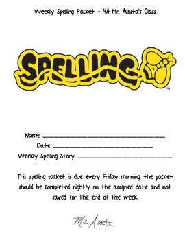 3rd and 4th Grade Weekly Spelling Packet