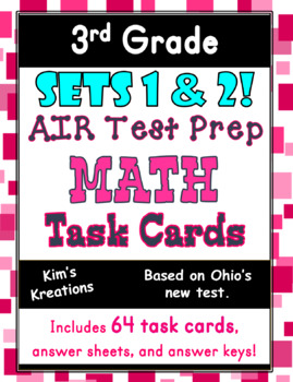 3rd grade AIR Math Test Prep  (Ohio) Bundle: Includes 2 Sets of Task Cards!