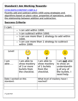 3rd grade CCLS MATH check list with rubric, I can statements for Self assessment
