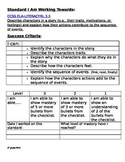 3rd grade CCLS RL check list with rubric, I can statements