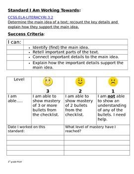 3rd grade CCLS Success Criteria RI 3