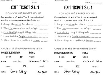 Grammar Exit Tickets 3rd Grade By Create Abilities Tpt