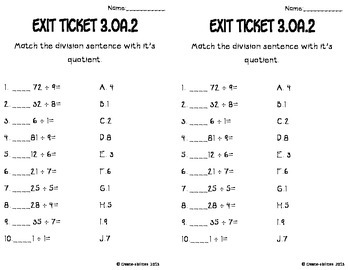 Division of Whole Numbers Math Tasks and Exit Tickets