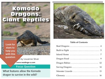 3rd grade Close Reading Komodo Dragons text lesson