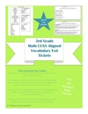 3rd grade Common Core Standard Math Vocabulary Exit Tickets and Answer Key