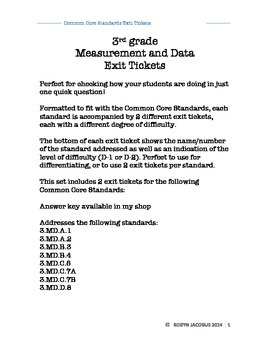 3rd Grade Math- Common Core Standard math exit tickets for data and measurement