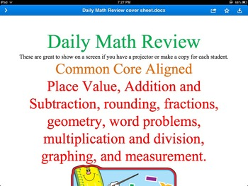 3rd grade Daily Math Reviews