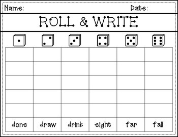 3rd grade Dolch Roll and Write
