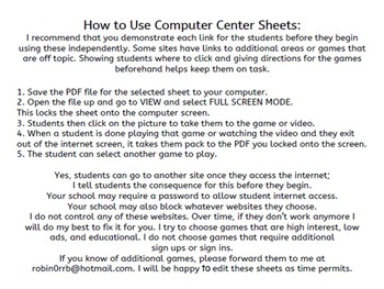3rd grade ELA Computer Center Sheets