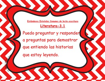 "3rd grade ELA ""I Can"" posters--SPANISH VERSION; chevron pattern"