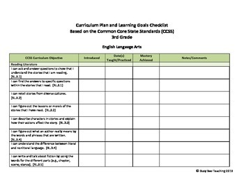 3rd grade ELA & Math CCSS Checklist - kid friendly with I can statements