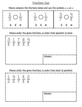 3rd grade Fraction Quiz