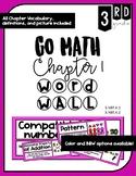 3rd grade GO Math Vocabulary Word Wall- Chapter 1