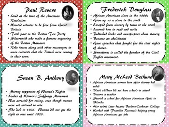 3rd grade Historical Figures Review cards and student booklet