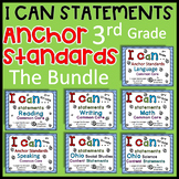 3rd grade I can statements THE BUNDLE Common Core and OHIO- Colored